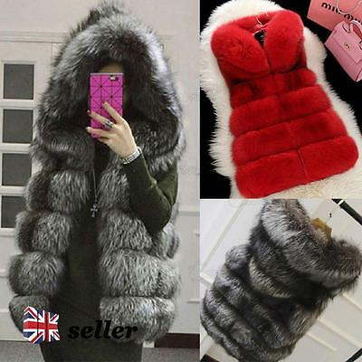 Women's Hooded Warm Faux Fox Fur Gilet Waistcoat Jacket Coat Outwear Long Vest