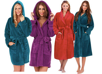 6040ffcc05 Ladies Super Soft Fleece Dressing Gown Robe Teal Purple Red Satin Trim Size  8-22