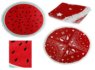 Watermelon or Dallas Red Pink Round Beach Towel Large Microfibre Bath Holiday