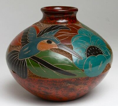 Hand-made Folk Art Pottery Etched & Hand Painted Nicaragua/ signed Candida Cano