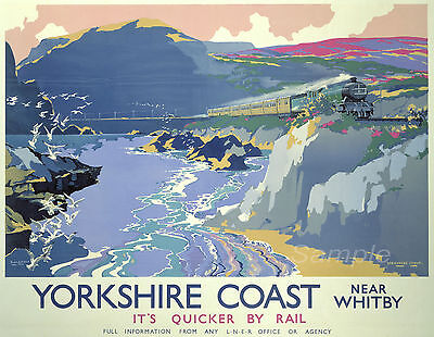 Near Whitby North Yorkshire Vintage Poster A3 A4 Size Sandsend