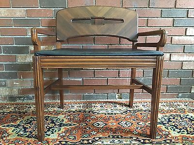 Vtg MID-CENTURY Vanity Bench Piano Stool Sewing ART DECO Dressing Chair Antique