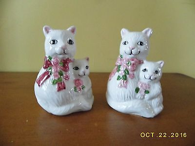 Ceramic Cat Salt & Pepper Shaker Set, White Kitties With Pink Bows And Flowers,