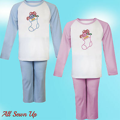 Personalised Embroidered 100% Cotton Christmas Pyjamas,  Present/Gift - Scene