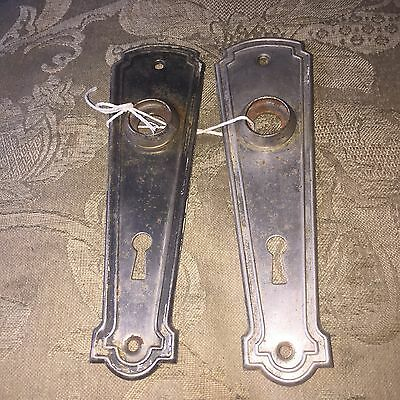 ANTIQUE Pair Of STAMPED  ART DECO PATTERN BACKPLATES