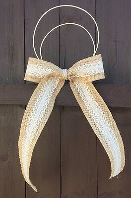 Pew Ends Bows church Rustic wedding Hessian Lace Ribbon