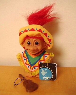 MEXICO TROLL- Russ 1990's Doll- Trolls of the World- Sombrero, Guitar