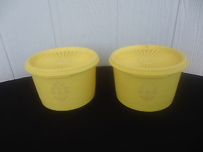 2 vintage retro  yellow tupperware canisters