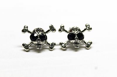Womens Ladies Bling Crystal Diamante Sparkly Fashion Pirate Cross Skull Earrings