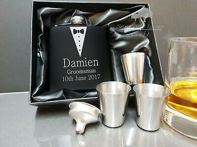 Personalised Engraved 6oz black Hip Flask gift set best man favour bhfgs6