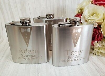 Personalised Engraved 6oz silver Hip Flask gift set best man favour shfgs6