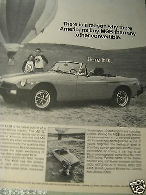 1979 MGB Convertible Hot Air Balloon Original Print Ad 9 x 11""