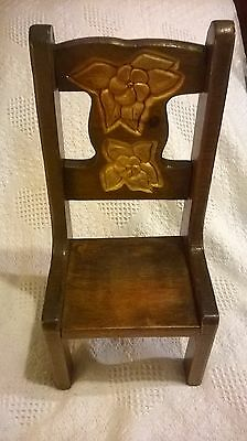 Childs Wooden Doll Chair Antique  Hand carved & Hand Made