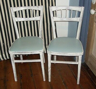 Kitchen Chairs Cafe/Bistro Retro Vintage x 2 - 1950s RARE BACK - Shabby Chic!