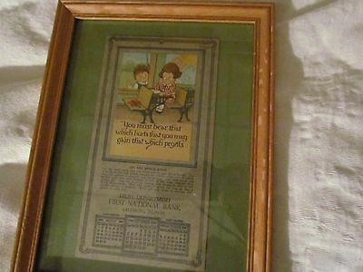 Oak Framed First National Bank Galesburg, Il 1926 Looks Like The Campbell Kids