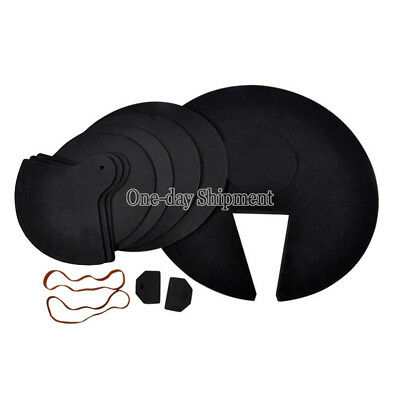 10pcs Bass Snare Drum Off Quiet Drums Mute Silencer Drumming Practice Pad Black