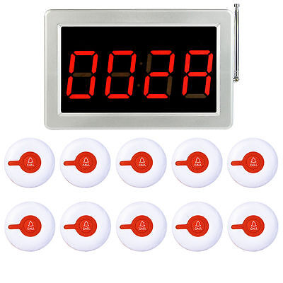 Wireless Paging System Receiver Host Calling Button Pager for Fast Food Cafe Bar