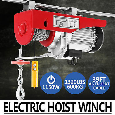 Electric Hoist Winch 600KG 240V Cable Lift Tool Remote Chain Lifting Rope Crane