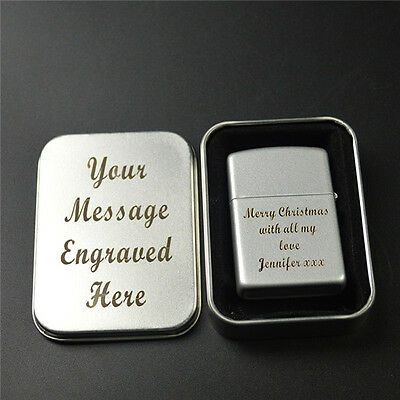 Engraved Personalised Chrome Lighter Birthday Fathers Day Wedding Christmas Gift