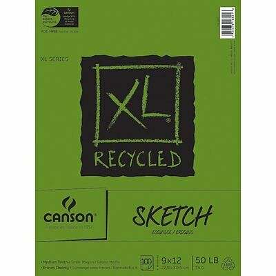 Pro-Art 9-Inch by 12-Inch Canson Recycled Sketch Pad, 100-Sheet