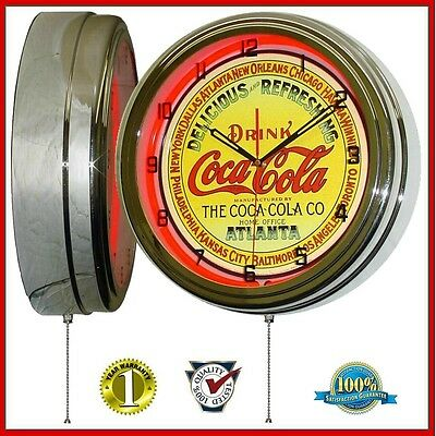 The Coca-Cola Company Classic Keg Label Red Neon Lighted Wall Clock Chrome