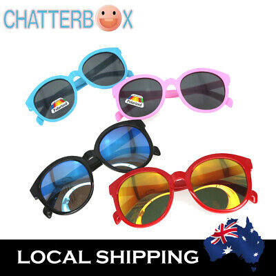 G&G Kids Boy Girl Colorful Round Sunglasses Vintage Mirror + free carry case