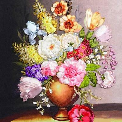 Blooming Rose Flowers Vase Ribbon Embroidery Handmade Needlework Decor Craft Kit
