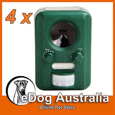 4xMotion Activated Solar Ultrasonic Animal Rodent Bird Dog Cat Pest Repeller