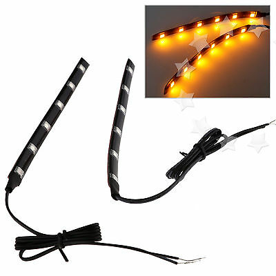 2 X Universal Amber 6 LED Motorcycle Strip Turn Signal Indicator Blinker Light
