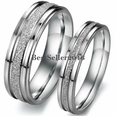 Silver Frosted Centered Stainless Steel Wedding Engagement Couples Band Ring New