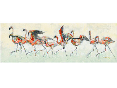 Flamingo Family Oil Painting Hanging Wall Art Canvas Modern Home Décor BIG 120cm