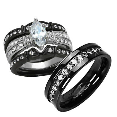 His Hers 4 Pc Black Stainless Steel & Titanium Wedding Engagement Ring Set ce