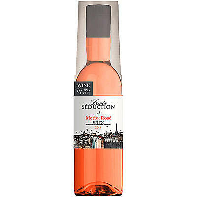 "12 Flaschen a 180ml Paris Seduction ""Wine & Go"", Merlot Rosé in Pet Flasche mit"