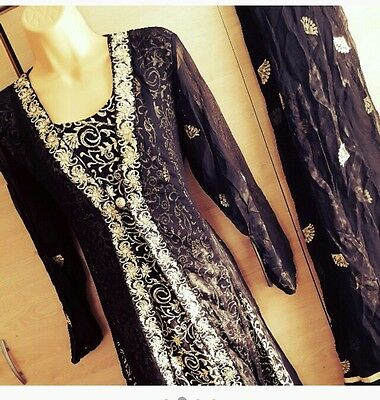 Brand new black and gold 3 piece suit matching churidar and dupatta