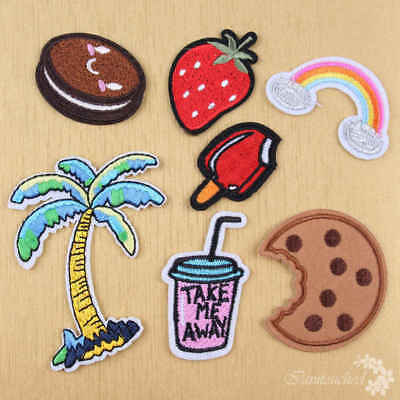 7Pcs Embroidered Sew Iron On Patches Badge Hat Bag Fabric Applique Clothes Craft