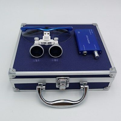 3.5X Dental Surgical Binocular Loupes Magnifier Blue + Head Light + Aluminum Box