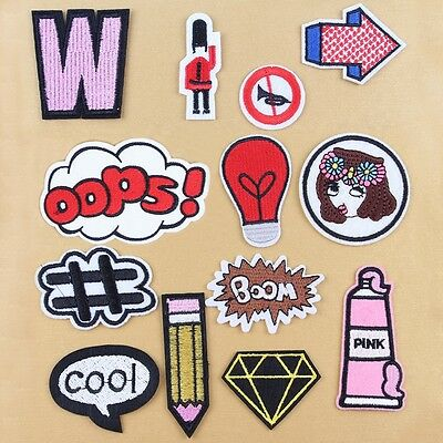 13Pcs / Set Embroidery Sew Iron On Patch Badge Bag Clothes Fabric Applique DIY