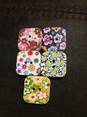 19mm Square Painted Wooden Buttons - Australian Supplier