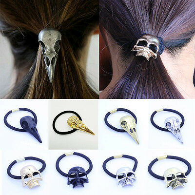 New Lady Gothic Raven Skull Elastic Hair Rope Hair Accessories Jewelry Gift