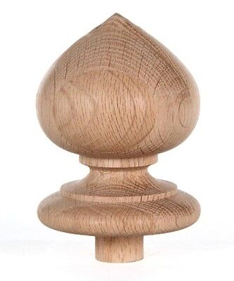 "JMP Wood Staircase Spade Finial Newel Post Cap, Red Oak Wood (4"" H X 3 5/16"" W)"