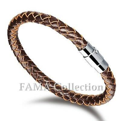 Quality Stylish FAMA Brown Braided Leather Bracelet NEW