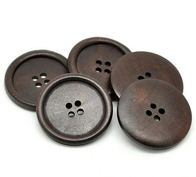 5 Wooden LARGE Dark Brown Rimmed Buttons 40mm Free postage