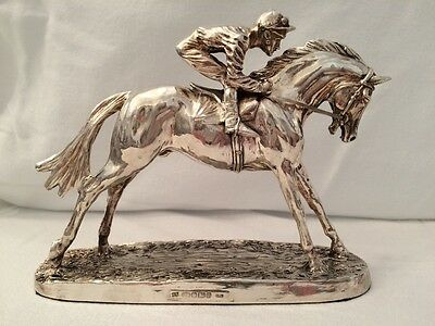 Magnificent Hallmarked Soild Sterling Silver Figural Sculpture Horse & Jockey