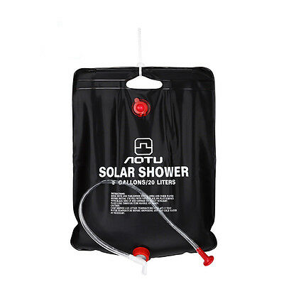 20l Camping Hiking Solar Energy Heated Shower Pipe BAG Portable Black Outdoor