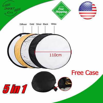 "110cm 43"" 5-in-1 Photo Photography Studio Light Mulit Collapsible Reflector Case"