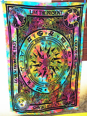 Psychedelic Hippie Twin Sun Moon Tapestries Indian Wall Hanging Tie & Dye Throw_