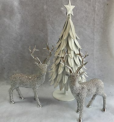 Silver Standing Reindeer Ornament Christmas Mantel Decoration Vintage Table