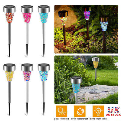 6x Solar Powered Stainless Steel Outdoor Garden Border Mosaic Stake LED Lights
