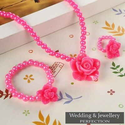 Children's Girls Kids Flower Jewelry Sets Gift Xmas Necklace Bracelet Ring Beads