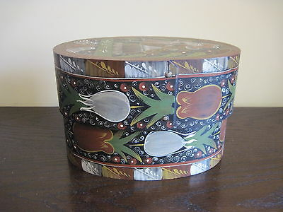 Hat Box, Oval Shape, Made Of Plywood & Hand Painted